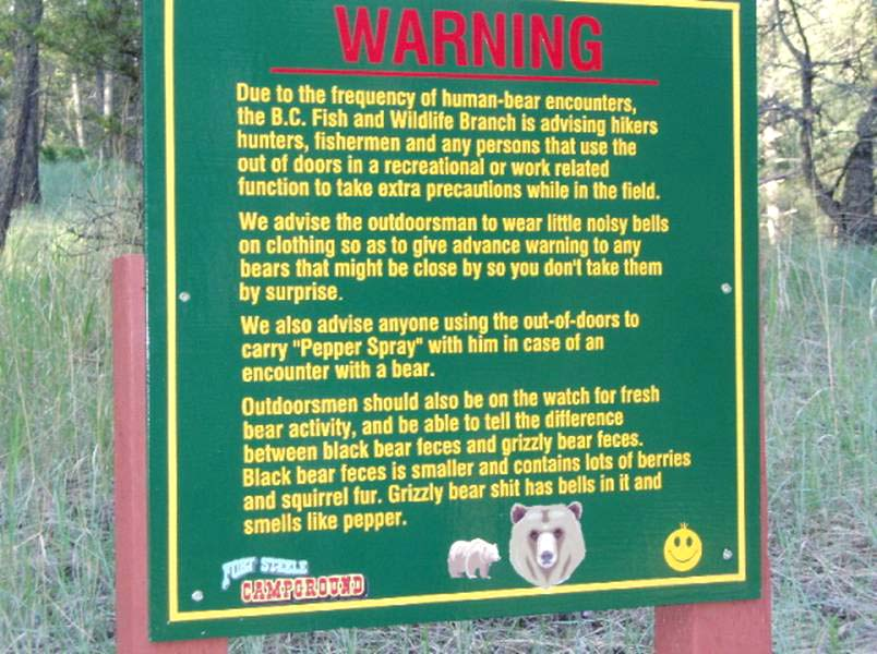 Bear Warning, Schild Bär